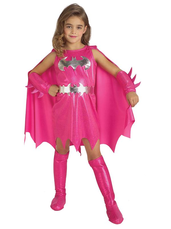 Pink-Batgirl-Supergirl-Girl-Superhero-Fancy-Dress-Kids-Toddler-Costume-Halloween