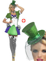 Ladies Fever Miss Hatter Costume + Mini Top Hat