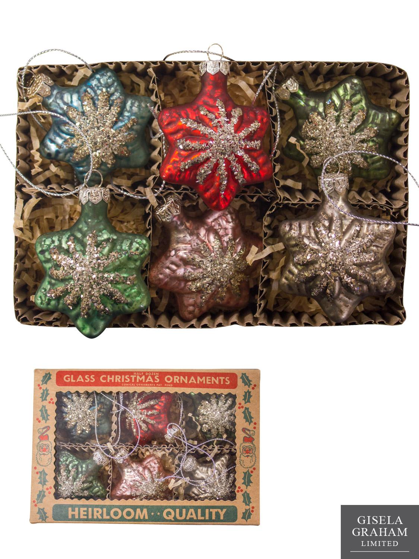 Gisela graham glass christmas tree decoration set mini for Antique christmas tree decoration
