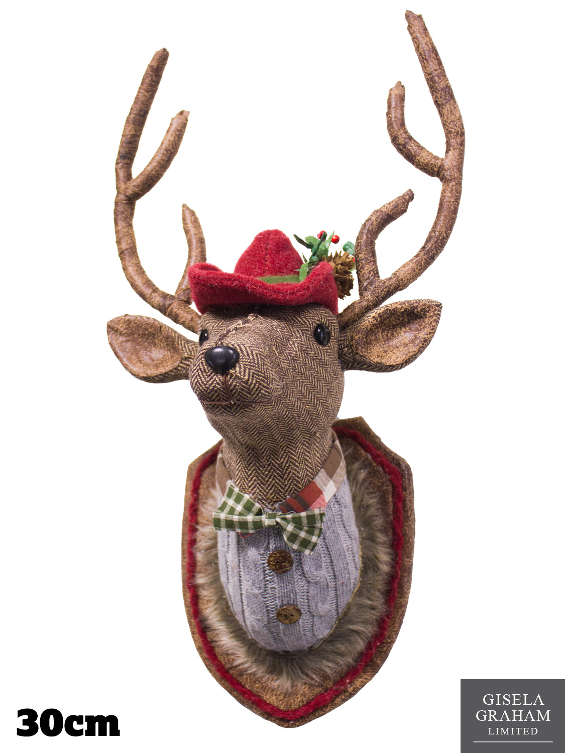 Gisela graham fabric moose stag christmas reindeer hanging for Christmas reindeer decorations