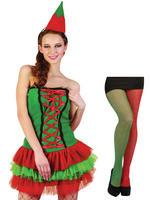 Ladies Christmas Elf Costume & Tights