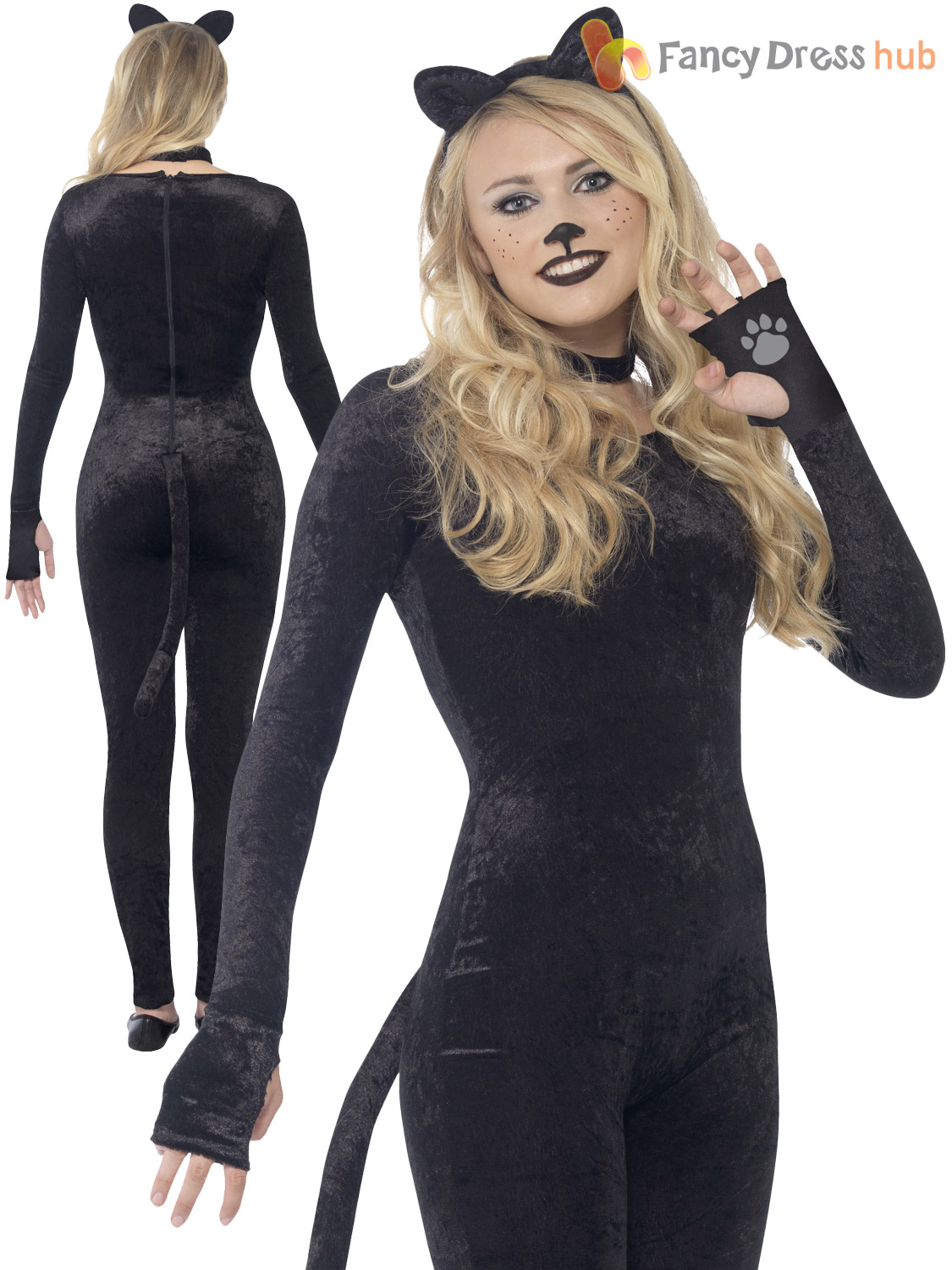 Ladies Cat Glitter Witch Costume Adult Halloween Fancy Dress Women Animal Outfit | eBay