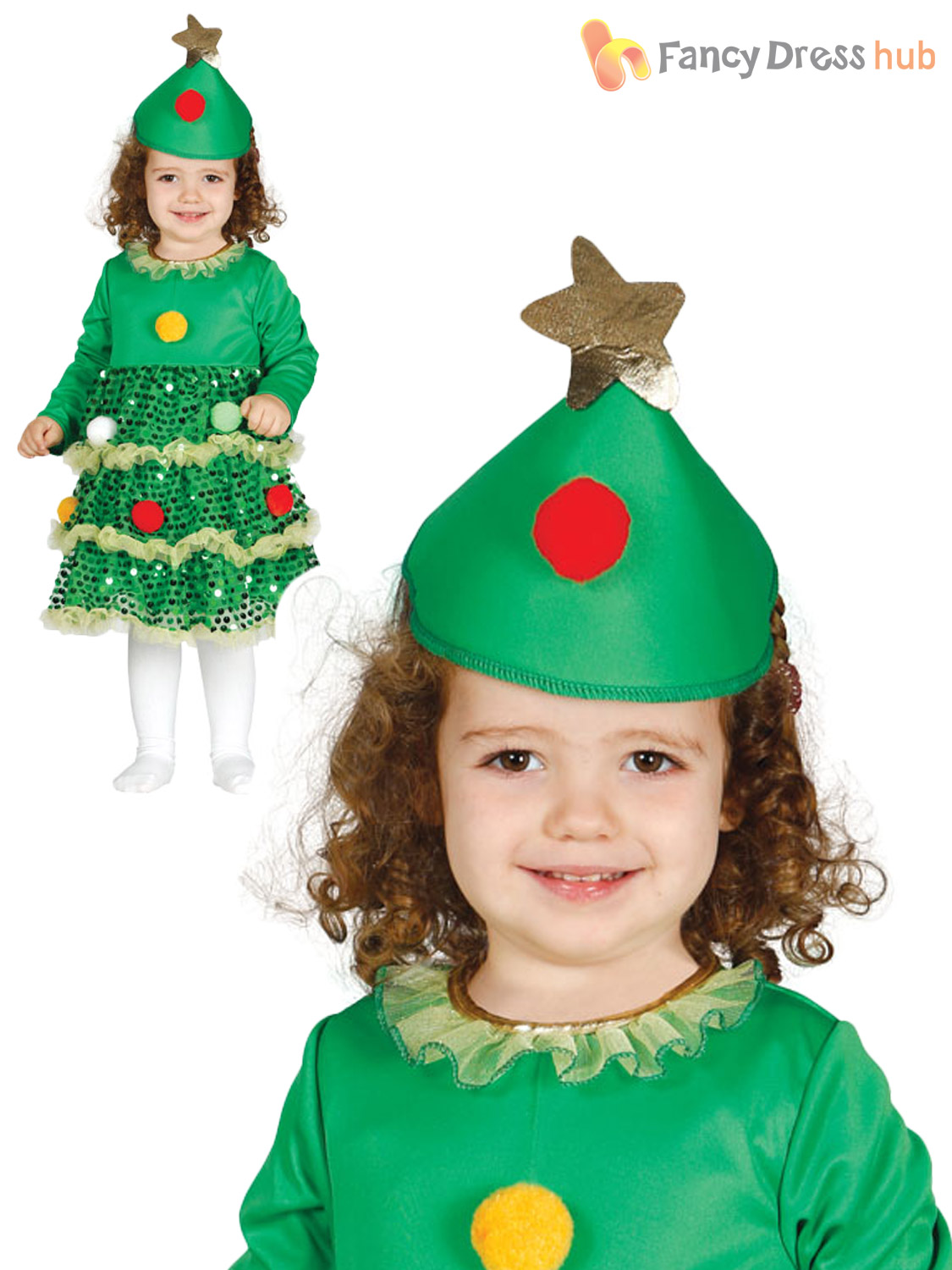 Girls Christmas Tree Costume Childs Toddler Xmas Fancy ...