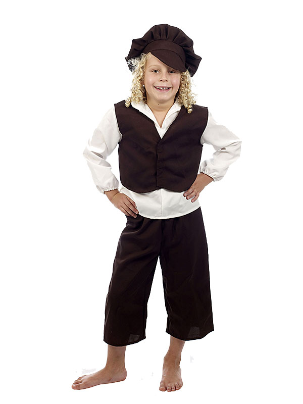 Boys Victorian Costume Hat Waistcoat Poor Orphan Oliver