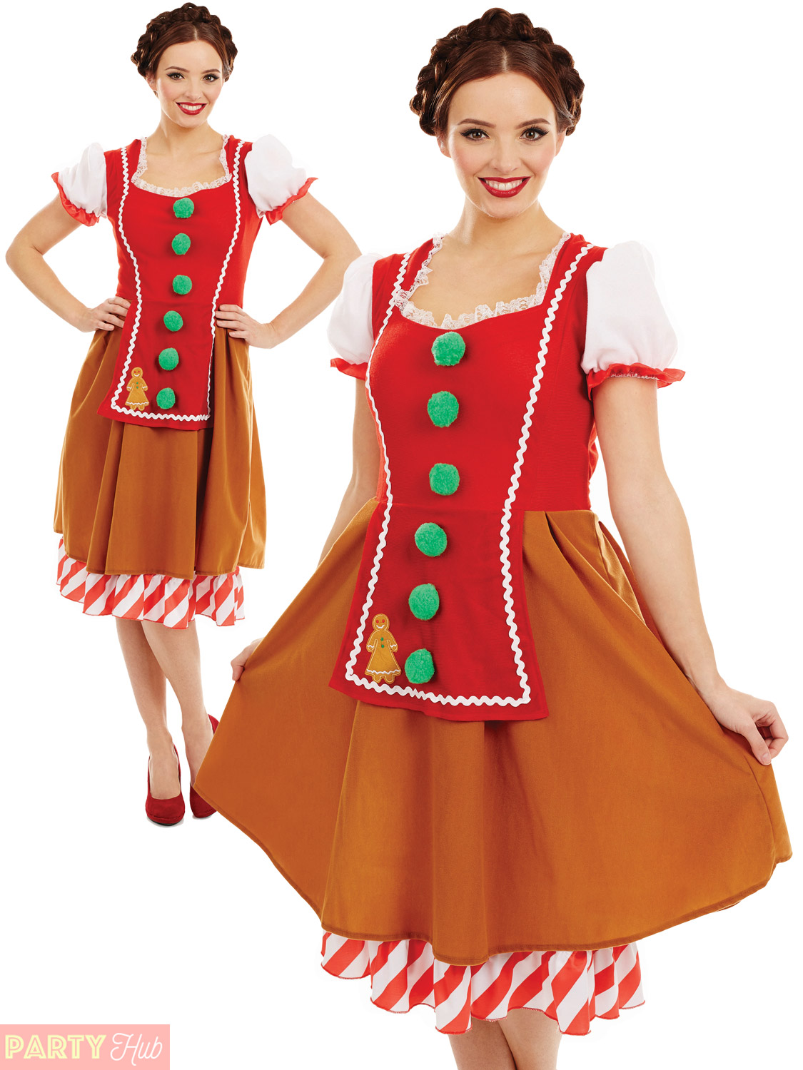 Ladies gingerbread woman costume adult christmas fancy