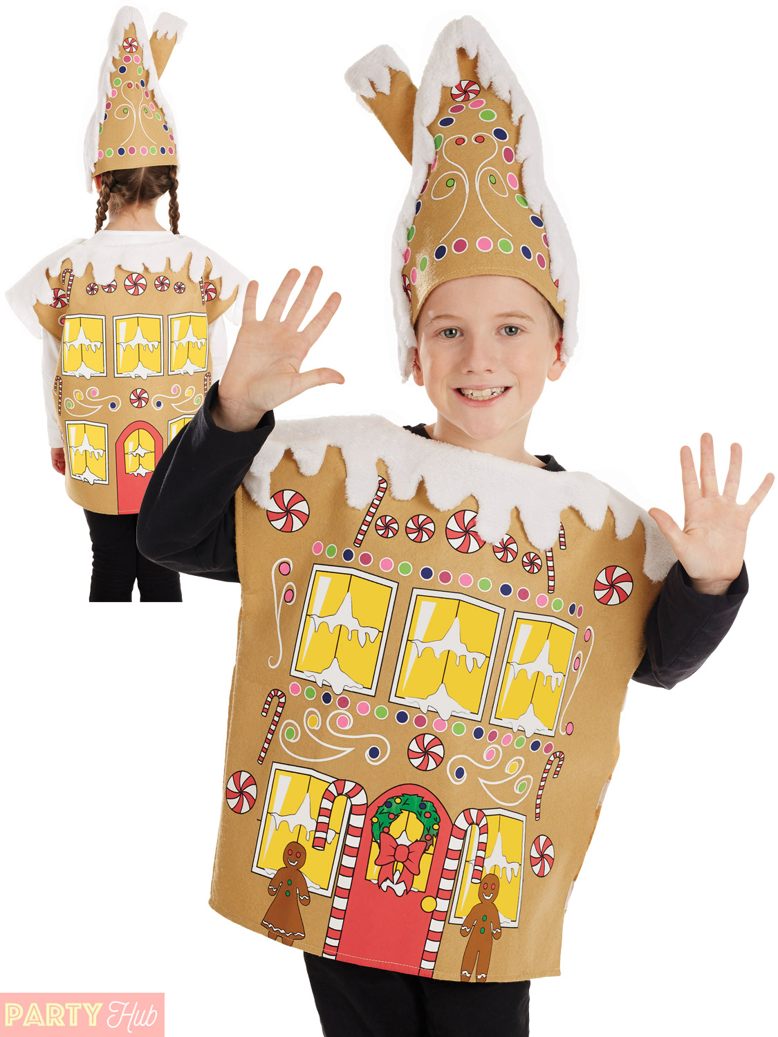 kids gingerbread man house costume boys girls christmas