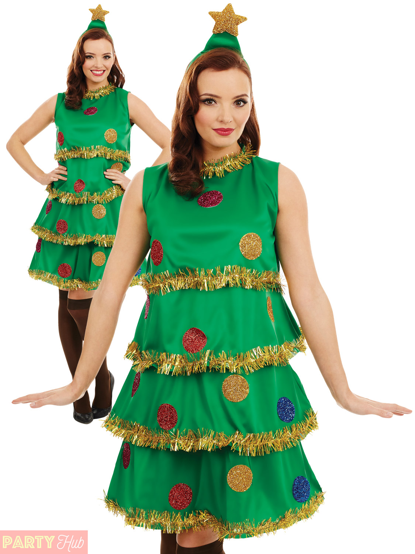 Ladies christmas tree lady costume adult fun xmas party