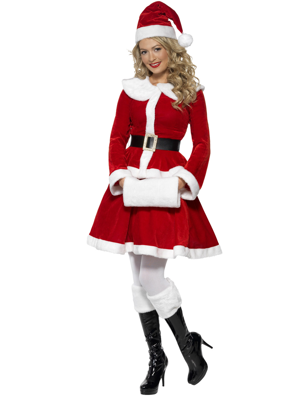 Details about ladies miss santa costume muff adults christmas fancy