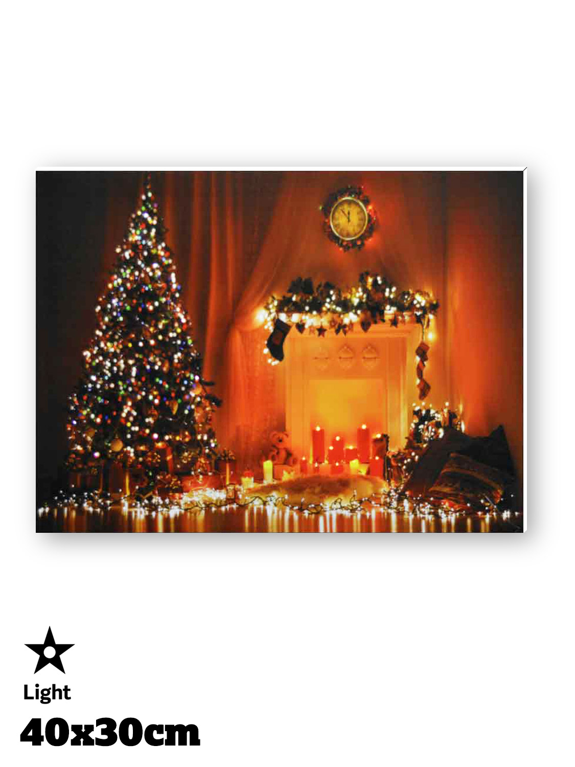 Christmas Wall Scene Decorations : Light up led christmas canvas decoration santa