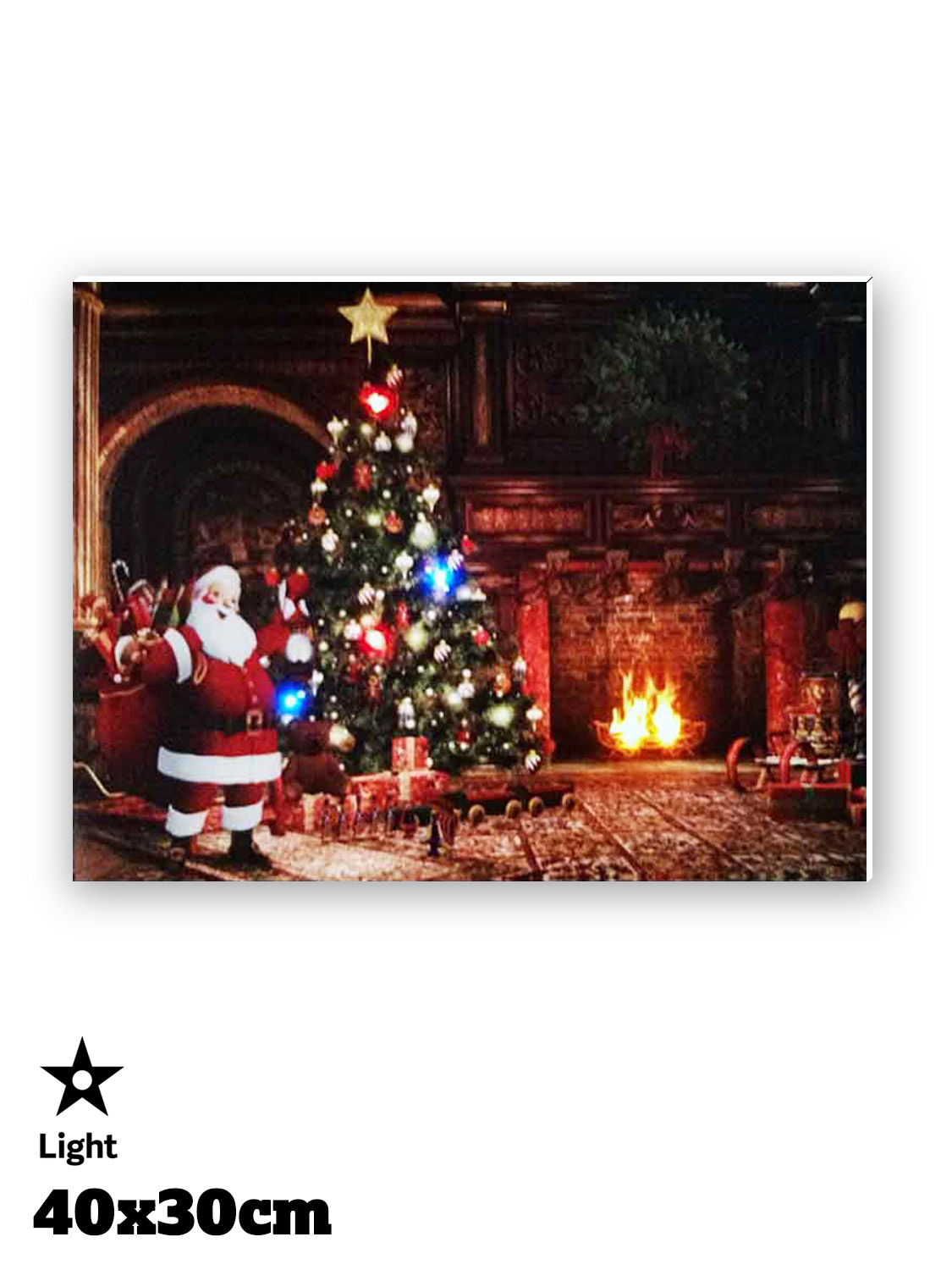 Led Christmas Wall Lights : Light Up LED Christmas Canvas Scene Decoration Santa Picture Wall 30x40cm