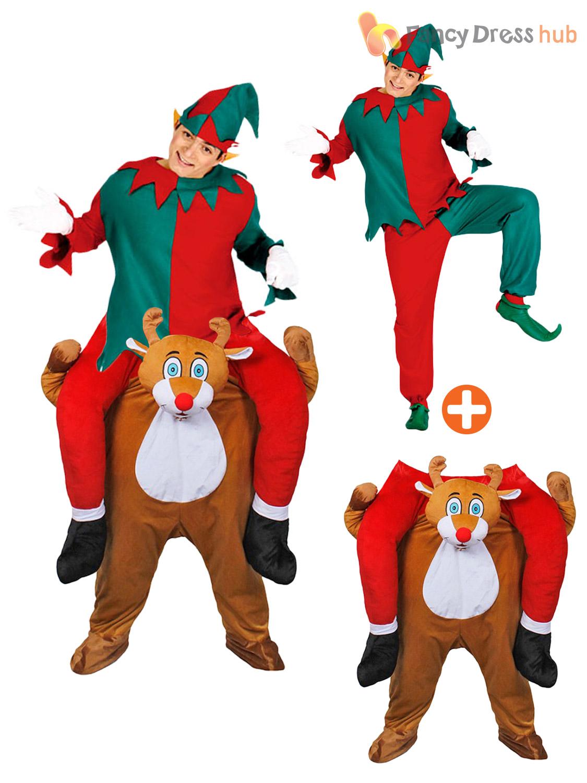 Adult-Piggy-Back-Reindeer-Costume-Mens-Novelty-Christmas-  sc 1 st  eBay & Adult Piggy Back Reindeer Costume Mens Novelty Christmas Fancy Dress ...