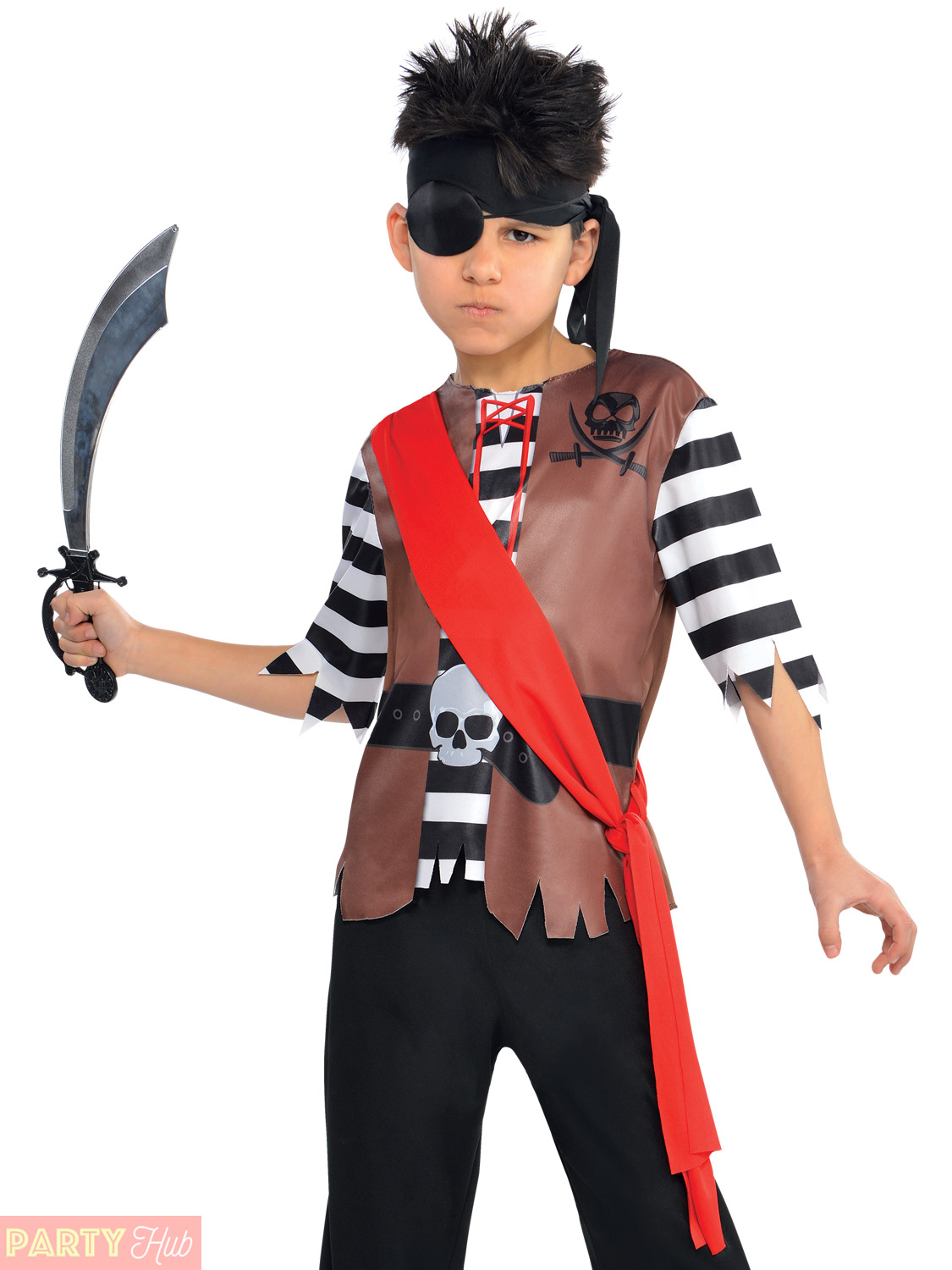 Boy's Pirate Costume. Includes: A pair of elasticated waist trousers, a top, belt and headpiece. Eye patch and sword available seperately. A great Book Week, Fancy Dress Party or .