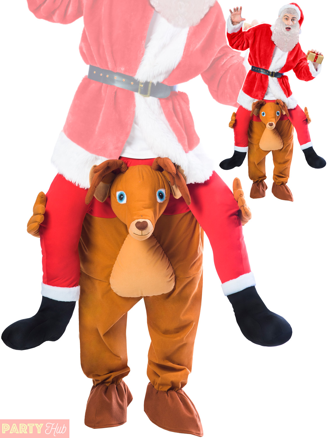Adult ride a reindeer costume christmas fancy dress mens carry me