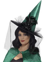 Ladies Deluxe Green Witch Hat with Netting