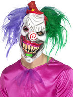 Kolourful Killer Clown Mask with Hair