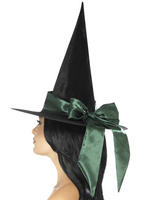Ladies Deluxe Green Witch Hat