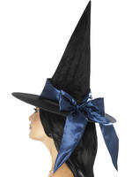 Ladies Deluxe Blue Witch Hat
