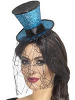 Blue Gothic Top Hat Headband