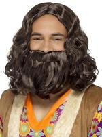 Men's Hippie / Jesus Wig & Beard Set