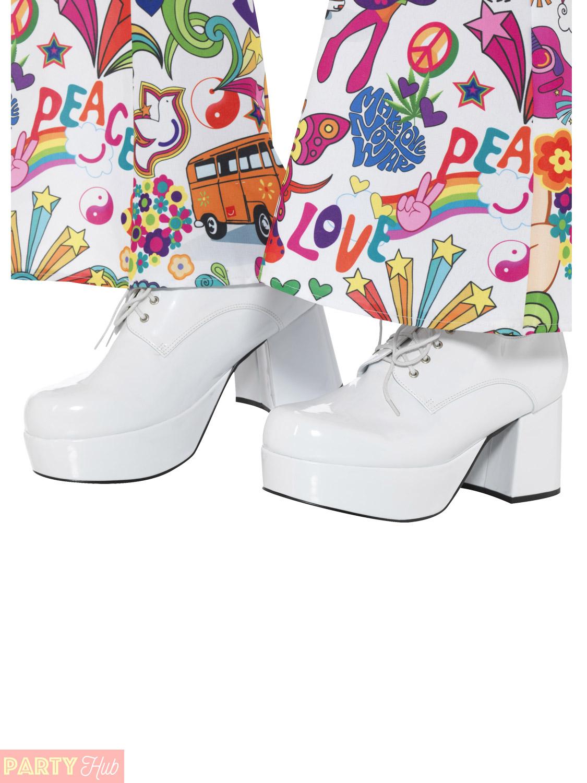 mens 1970s platform shoes adults 1960s hippie fancy dress