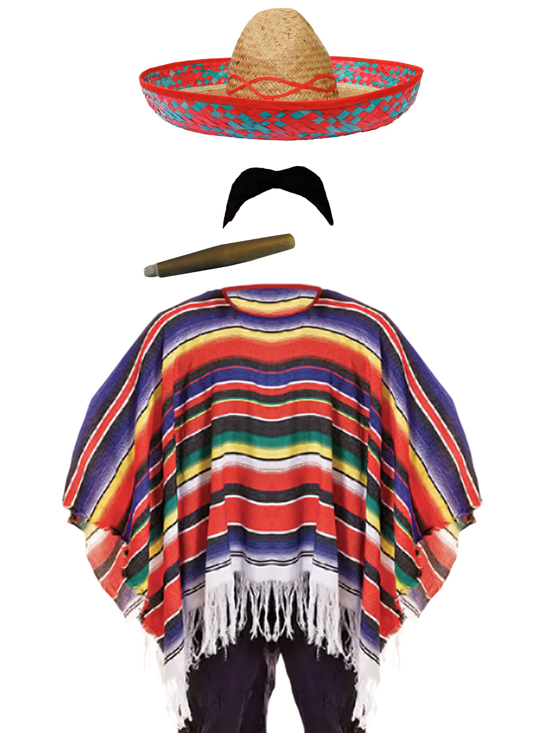 Mexican Poncho Fancy Dress Costume Sombrero Party Bandit ...