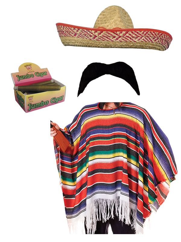 MEXICAN-PONCHO-MEXICO-PARTY-FANCY-DRESS-BANDIT-COWBOY-WITH-ACCESSORIES
