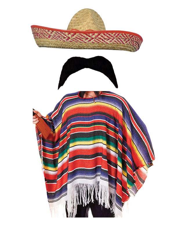 Mexican-Poncho-Fancy-Dress-Costume-Sombrero-Party-Bandit-Adult-Western-Outfit