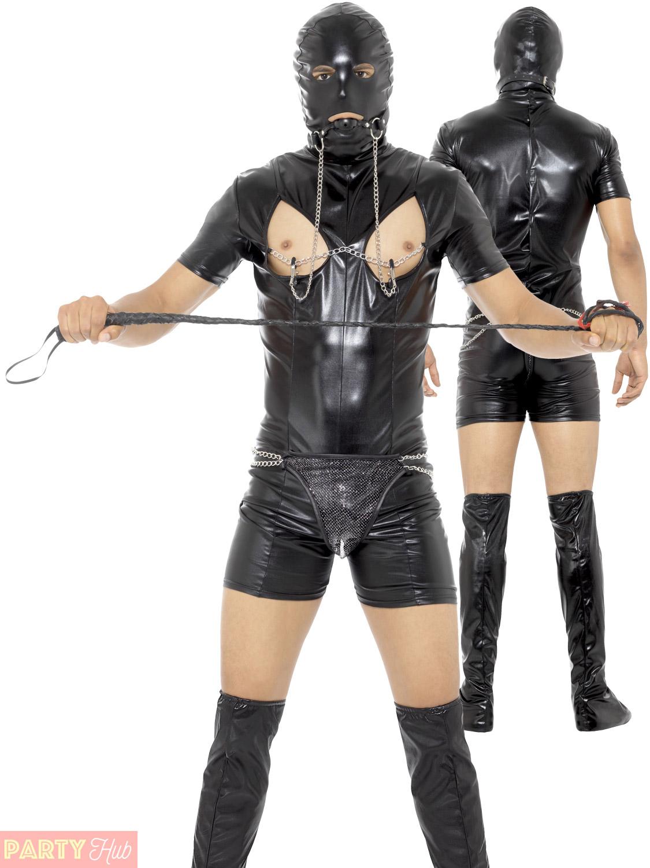 Mens Bondage Gimp Fancy Dress Costume Funny PVC Stag Party Night Suit Comedy