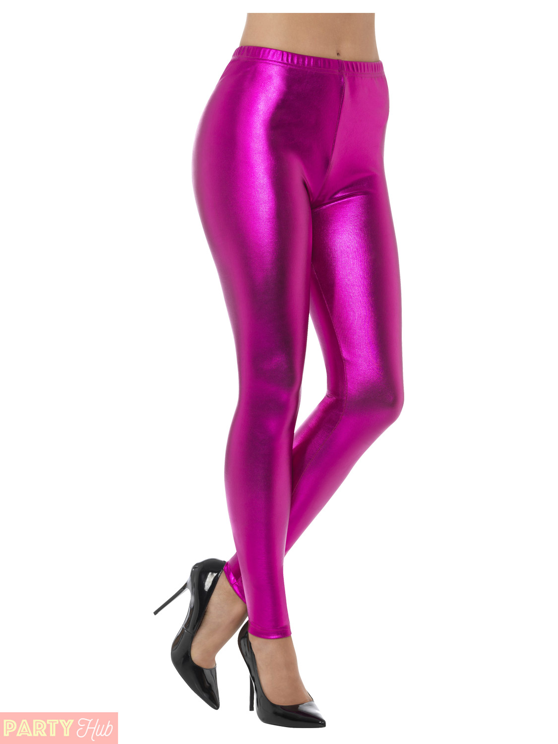 Ladies 80s Metallic Leggings Adult Disco Fancy Dress ...