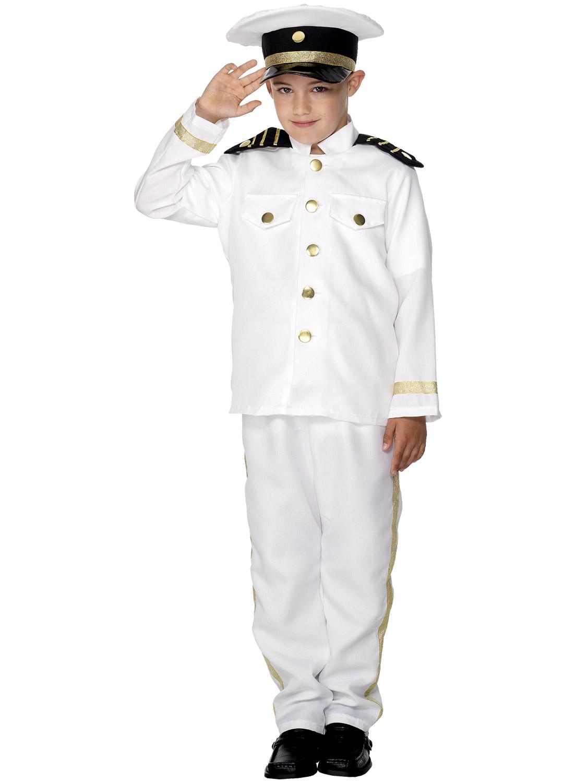 Boys Sailor Captain Costume Child Marine Navy Officer Fancy Dress ...