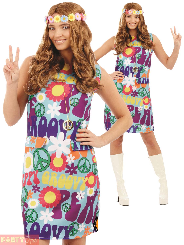 Ladies 1960s 1970s Groovy Hippie Costume Adults Hippy ...