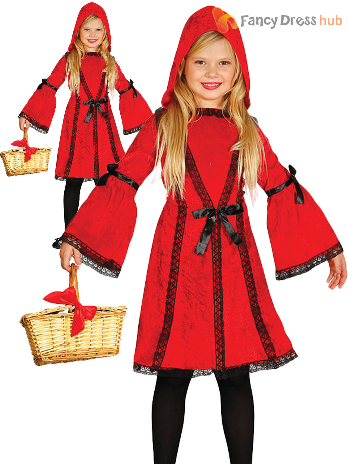 Girls Red Riding Hood Fairy Tale Book Week Fancy Dress Costume Child Outfit
