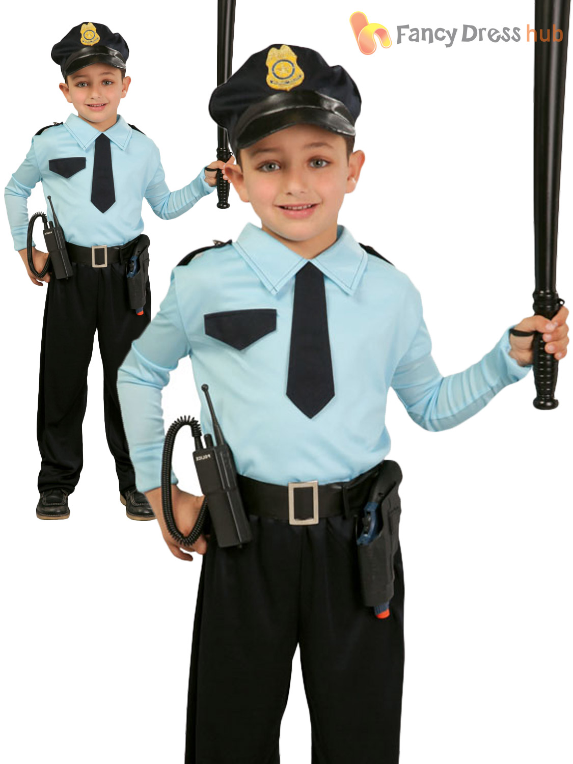 Boys Police Officer Costume Childs Cop Fancy Dress Kids Uniform Book Week Outfit | eBay