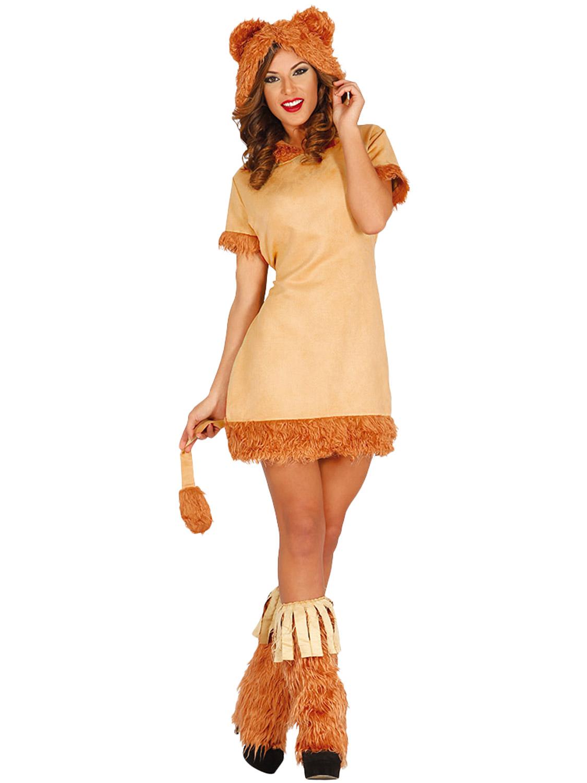 Adults Lion Costume Mens Ladies Animal Fancy Dress Jungle