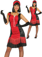 Ladies Red Charleston Flapper Costume