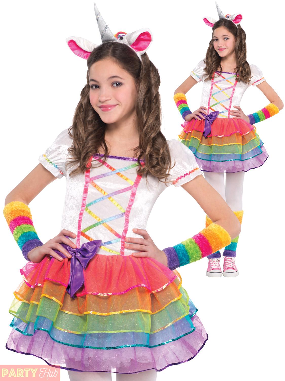 Girls Rainbow Unicorn Costume Childs Fairytale Fantasy Fancy Dress Kids Outfit | eBay