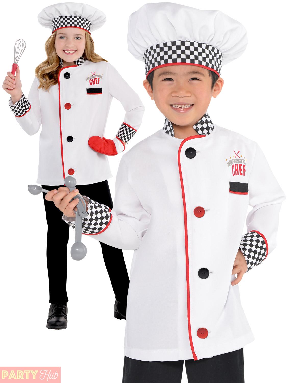 kids master chef costume fancy dress up boys girls book day cook bake off child ebay. Black Bedroom Furniture Sets. Home Design Ideas