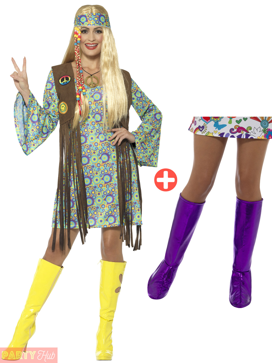 Ladies 60s Hippie Fancy Dress Costume + Boot Covers Adult