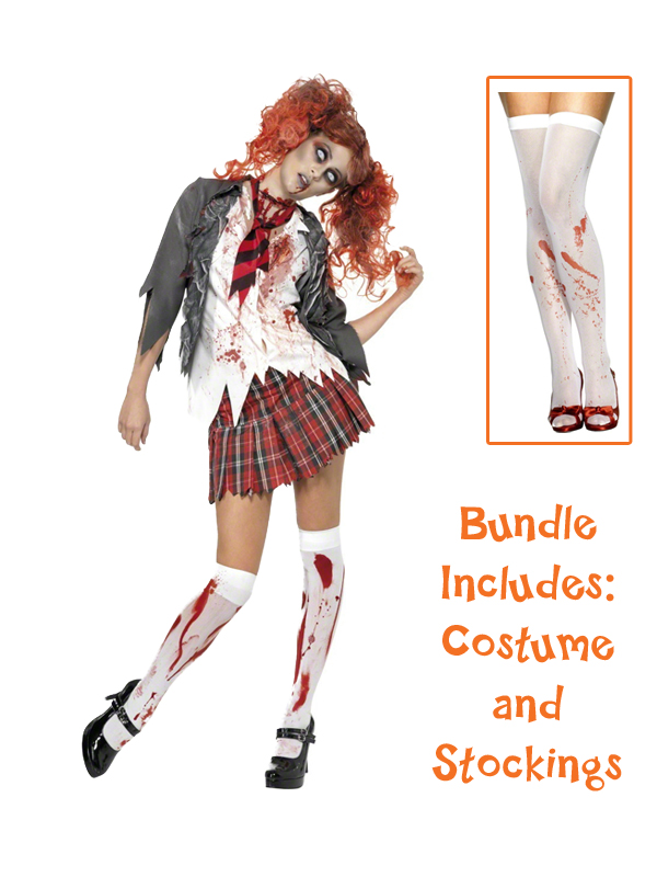 Halloween Zombie Cheerleader School Girl Costume Ladies Womens Adult Fancy Dress
