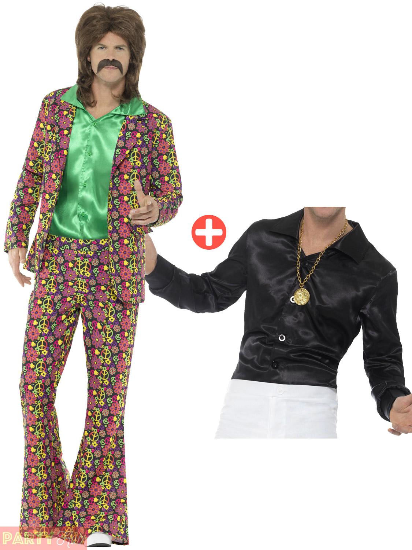 Shirt Adult Hippy Hippie Fancy Dress Costume Mens 60s 70s Psychedelic CND Suit
