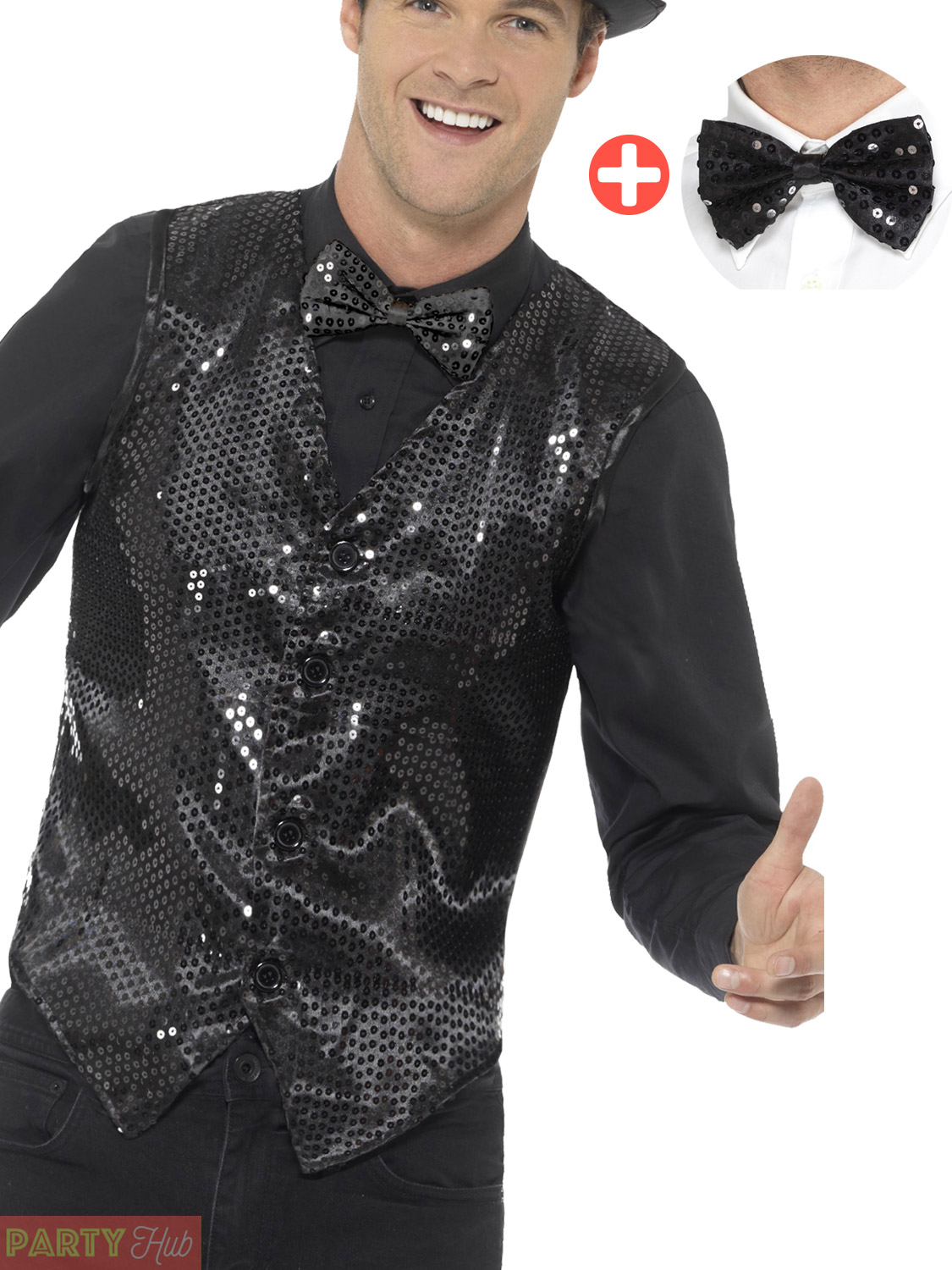 Adults Sequin Waistcoat Tailcoat Jacket Bow Tie Cabaret Fancy Dress Showtime