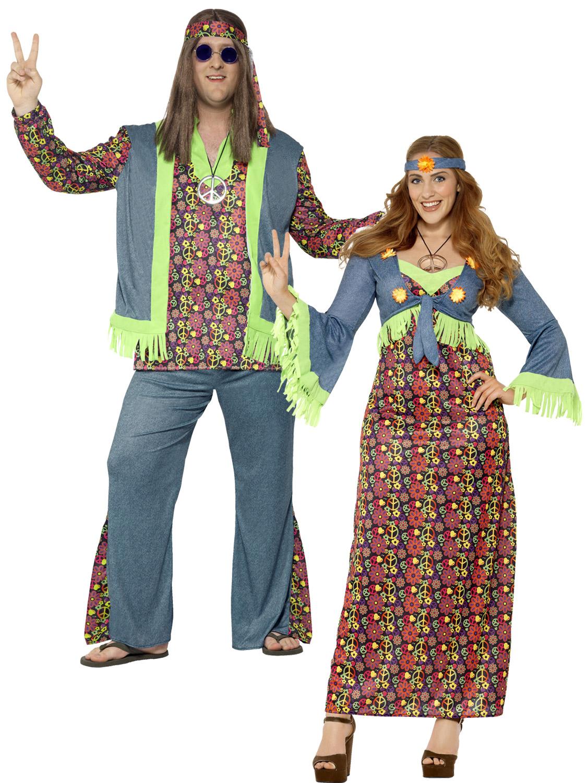 Adults Hippie Costume Mens Ladies Plus Size Hippy Fancy ...