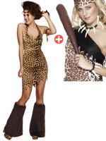 Ladies Fever Cave Woman Costume & Voodoo Set