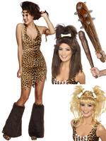 Ladies Fever Cave Woman Costume, Club & Wig