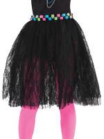 Ladies 80s Black Lace Skirt