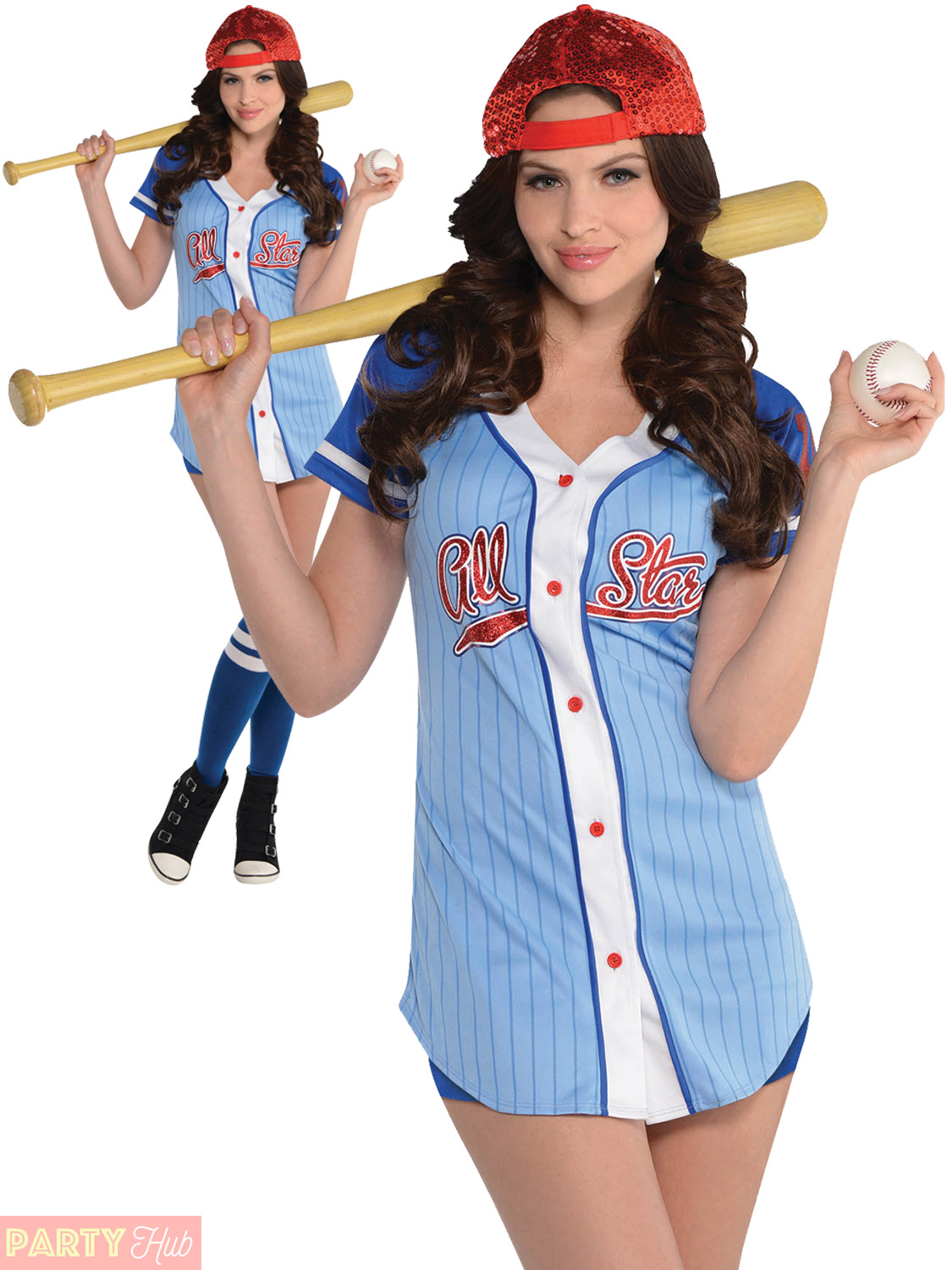 Adult Baseball Babe Costume Ladies Sport Player USA American Fancy Dress Outfit | EBay