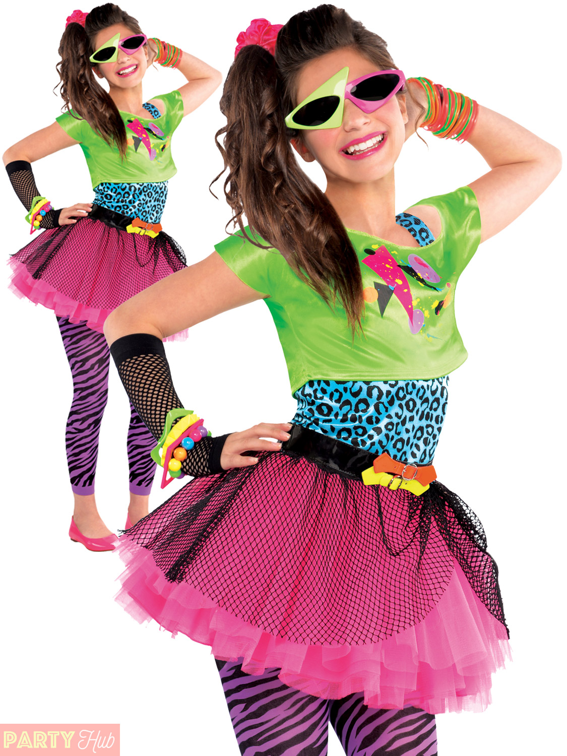 Childs Girl 80s Costume Totally Awesome Teen Neon Disco ...