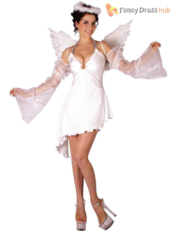 Ladies angel costume adults christmas fancy dress womens