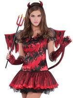 Girls Teen Hot Stuff Devil Costume Childs Halloween Fancy Dress Kids Outfit