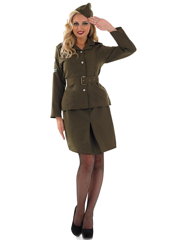 Ladies 40s WW2 Army Girl Costume Womens Soldier Uniform ...